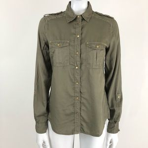 Maeve  Green Snap Button Rolled Sleeve Shirt